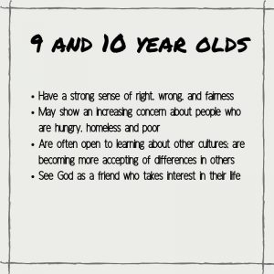 Spiritual Characteristics of 9 and 10 year Olds